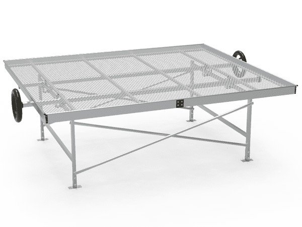 A drawing picture of greenhouse rolling bench with expanded metal top.
