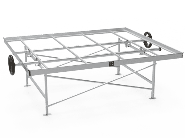 A drawing picture of greenhouse rolling bench frame.
