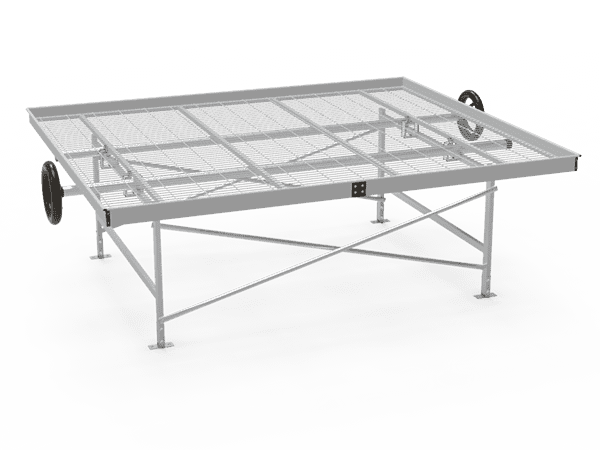 A drawing picture of greenhouse rolling bench with welded wire mesh top.