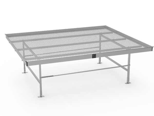 A drawing picture of stationary greenhouse bench with expanded metal top.