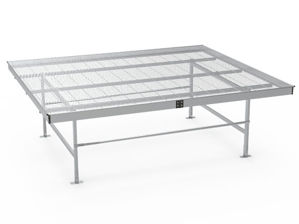 A drawing picture of stationary greenhouse bench with welded wire mesh top.