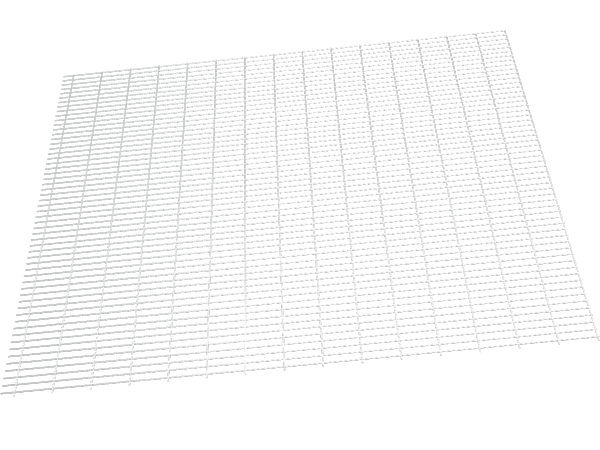 A drawing picture of rolling bench top made of welded wire mesh.