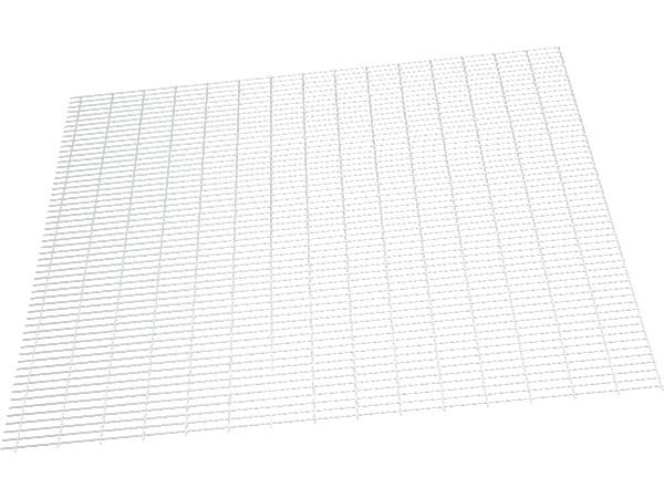 A drawing picture of stationary bench top made of welded wire mesh.