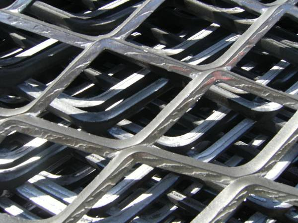 A close up picture of expanded metal bench top.